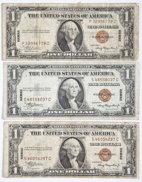 3 1935-a Hawaii $1.00 Silver Certificates