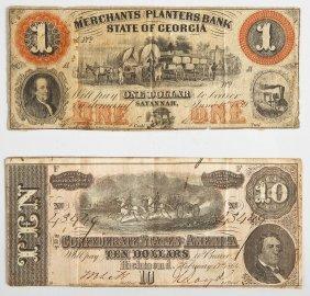 $1 Merchants Planters & $10 Confederate Obsoletes