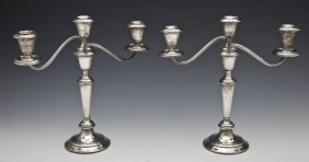 Pair Of Gorham Sterling Weighted Candelabras