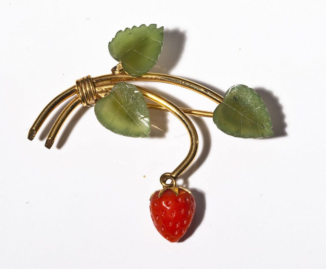 W.E. Richards Gold Filled Jade & Coral Brooch