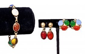 Suite Of Gold-filled Scarab Jewelry