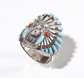 Sterling Navajo Indian Chief Ring