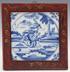 Dutch Delft Tile With Soldiers