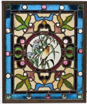 Antique Leaded & Stained Glass Window