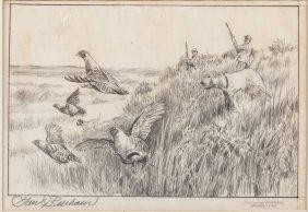 Tom Beecham (am, 20th C) Hungarian Partridge Study