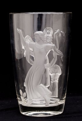 Verlys Art Deco Seasons Vase By Carl Schmitz