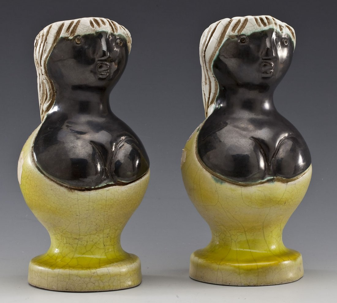 Pr French Mid-Century Art Pottery Figural Vases