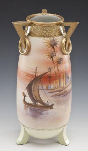 Nippon Hand Painted Vase With Desert Scene