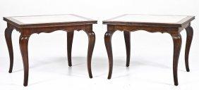 Pair Of Berkey Marble Top End Tables