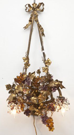 French Gilt Bronze Chandelier With Glass Grapes
