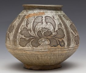 16th C Korean Pottery Vessel In Wooden Box