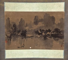Chinese Hanging Scroll Of A Waterscape