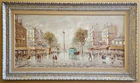 Large Signed Oil on Canvas Parisian Street Scene
