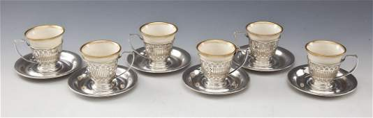 6 Pc Lenox  Alvin Sterling Demitasse Set