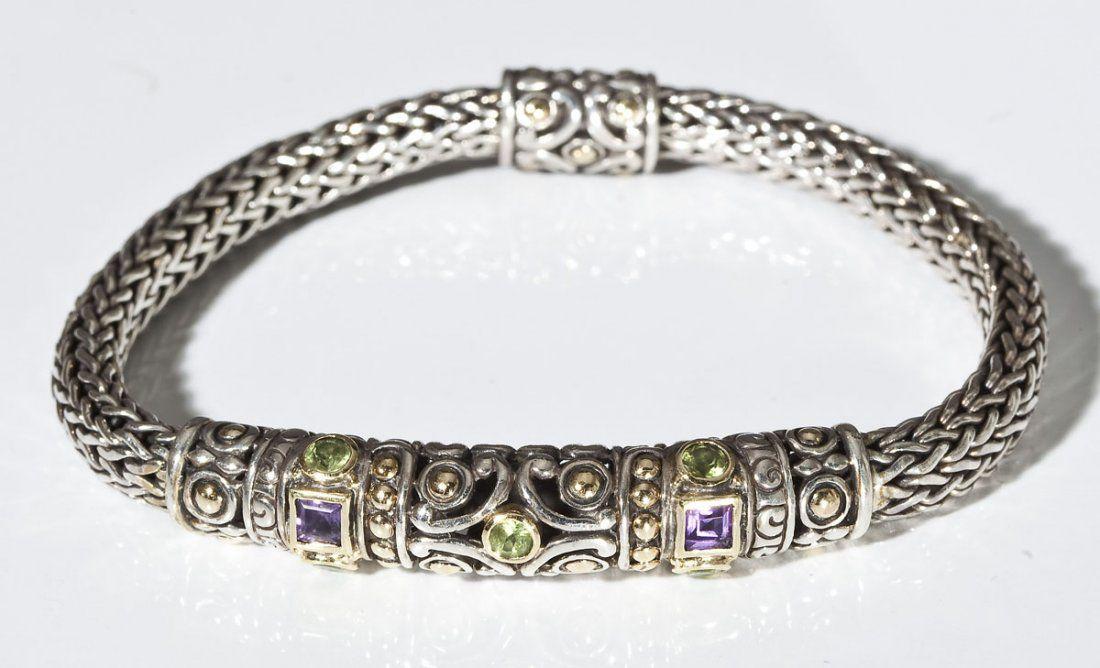 John Hardy Sterling 18K & Gemstone Bracelet