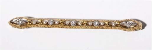 14K Diamond & Pearl Bar Pin