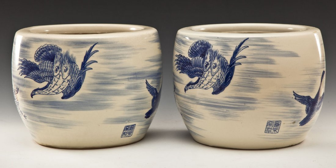 Pair Chinese Blue & White Ceramic Bird Planters
