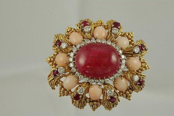 483: 18K 18.87 Carat Ruby Coral & Diamond Brooch