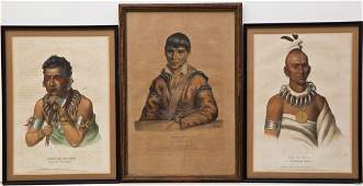 3 McKenney  Hall Large Folio Indian Lithographs