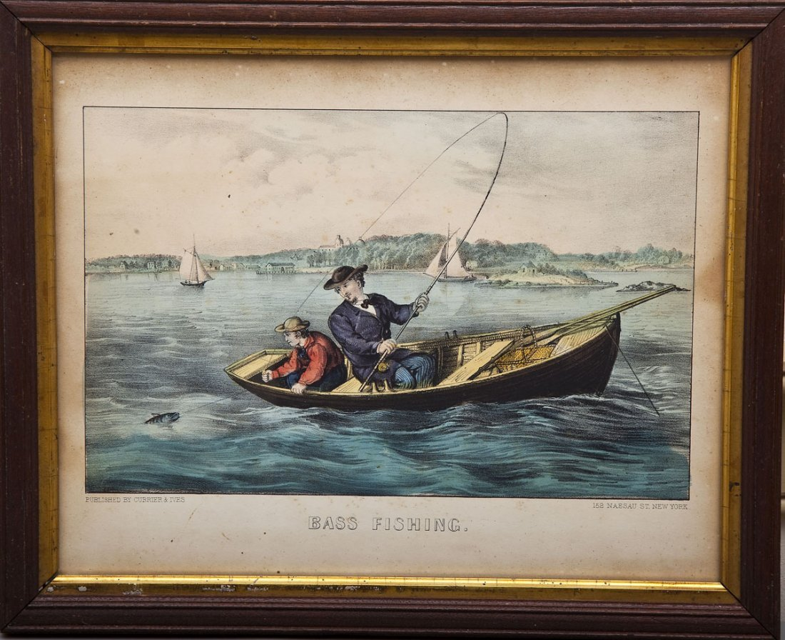 "Currier & Ives ""Bass Fishing"""