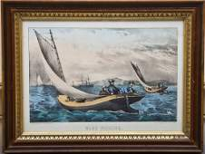 Currier  Ives Blue Fishing