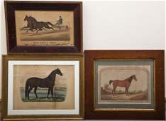 3 Horse Racing Prints Including Currier  Ives