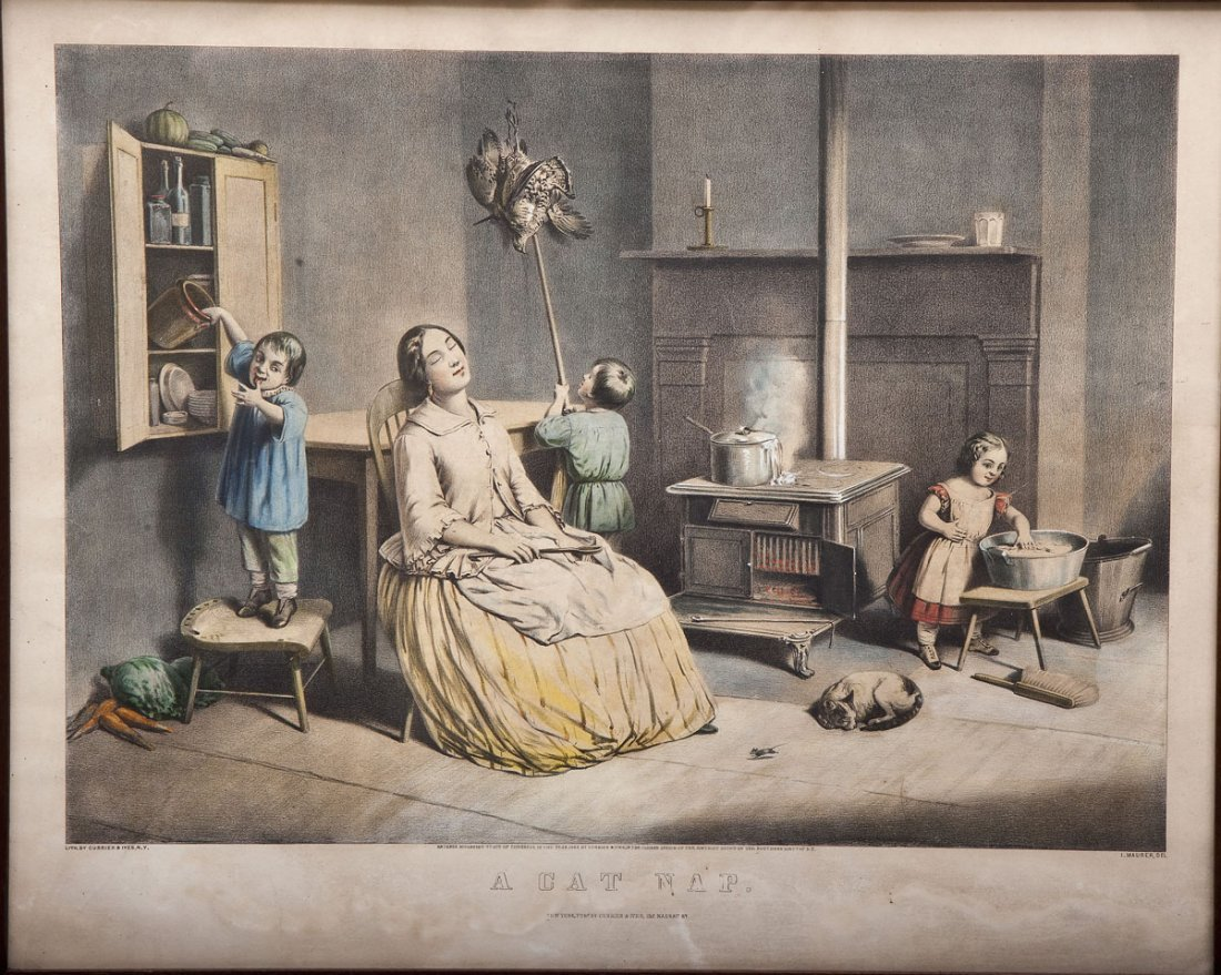 """Currier & Ives Lithograph """"A Cat Nap"""""""
