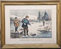 Currier  Ives Winter Sports Pickerel Fishing