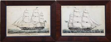 2 N Currier Ship Lithographs