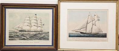 2 Currier  Ives Ship Lithographs