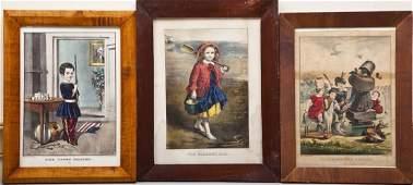 3 Currier  Ives Children Lithographs