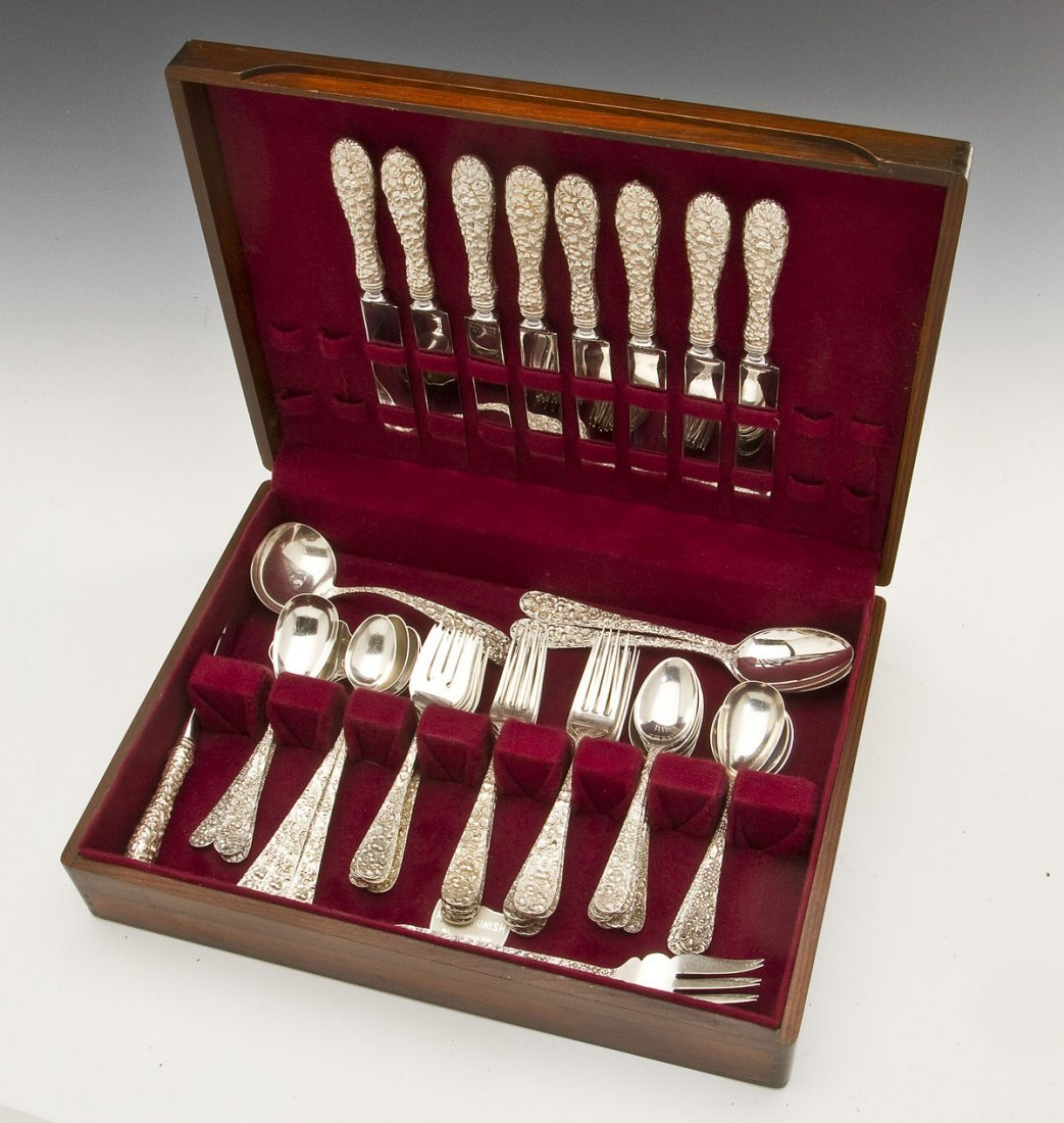 52 Pc Stieff Rose Sterling Flatware Set