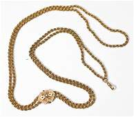 Large Victorian 14K Gold Watch Chain with Slide