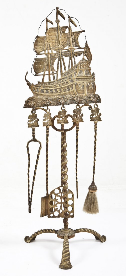 brass sailing ship fireplace tool set