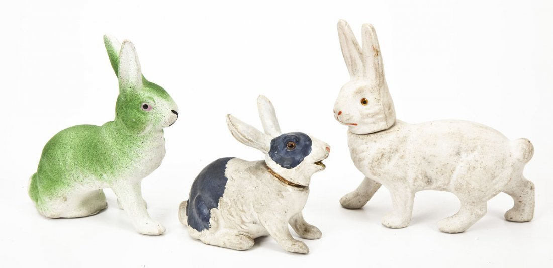 3 Chalkware Rabbit Easter Candy Jars