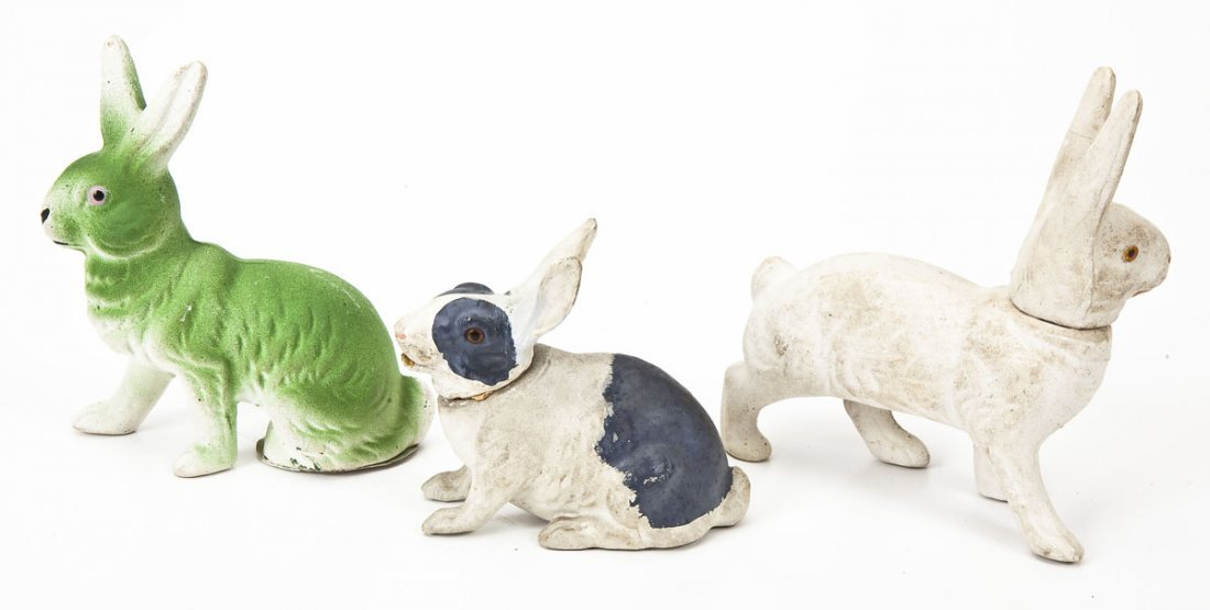 3 Chalkware Rabbit Easter Candy Jars - 2