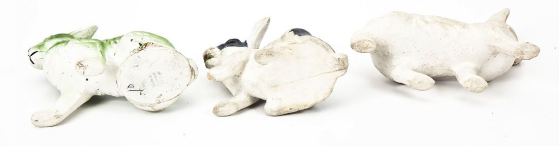 3 Chalkware Rabbit Easter Candy Jars - 3