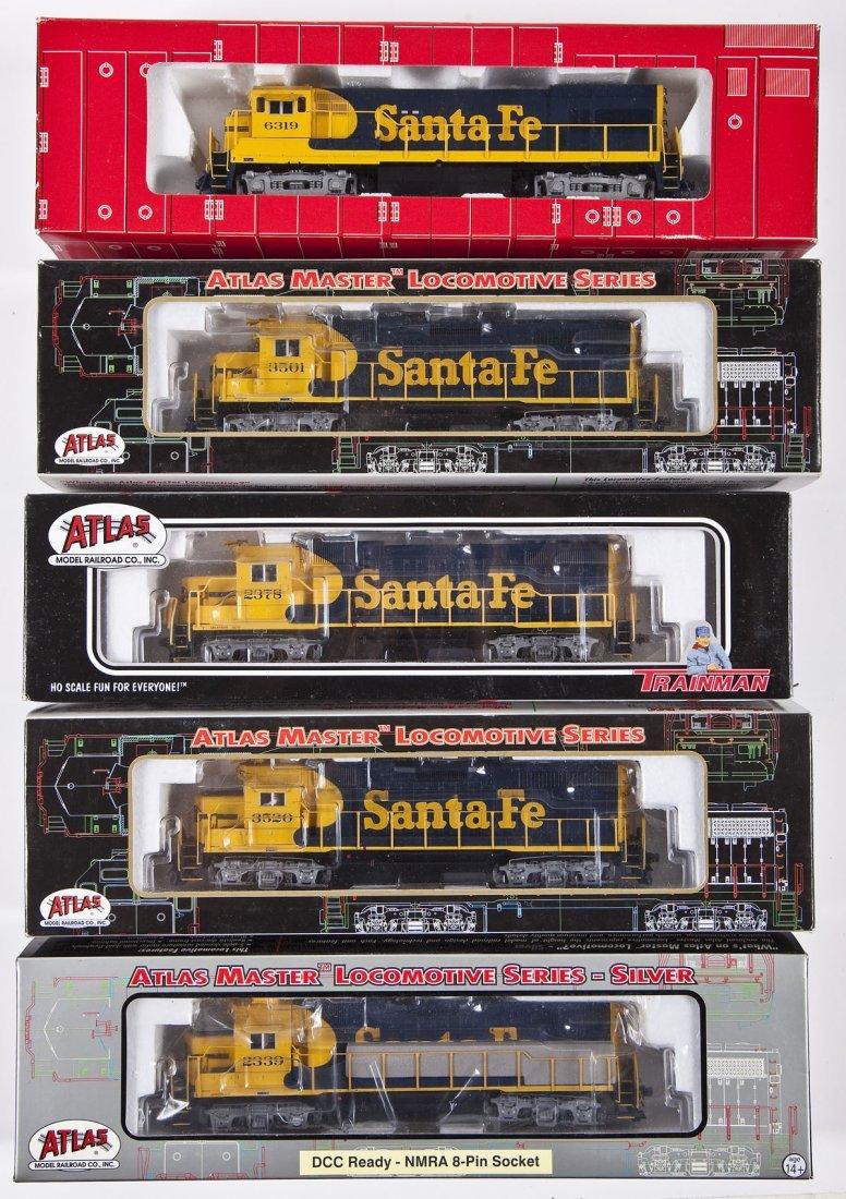 5 Atlas Santa Fe HO Scale Locomotives