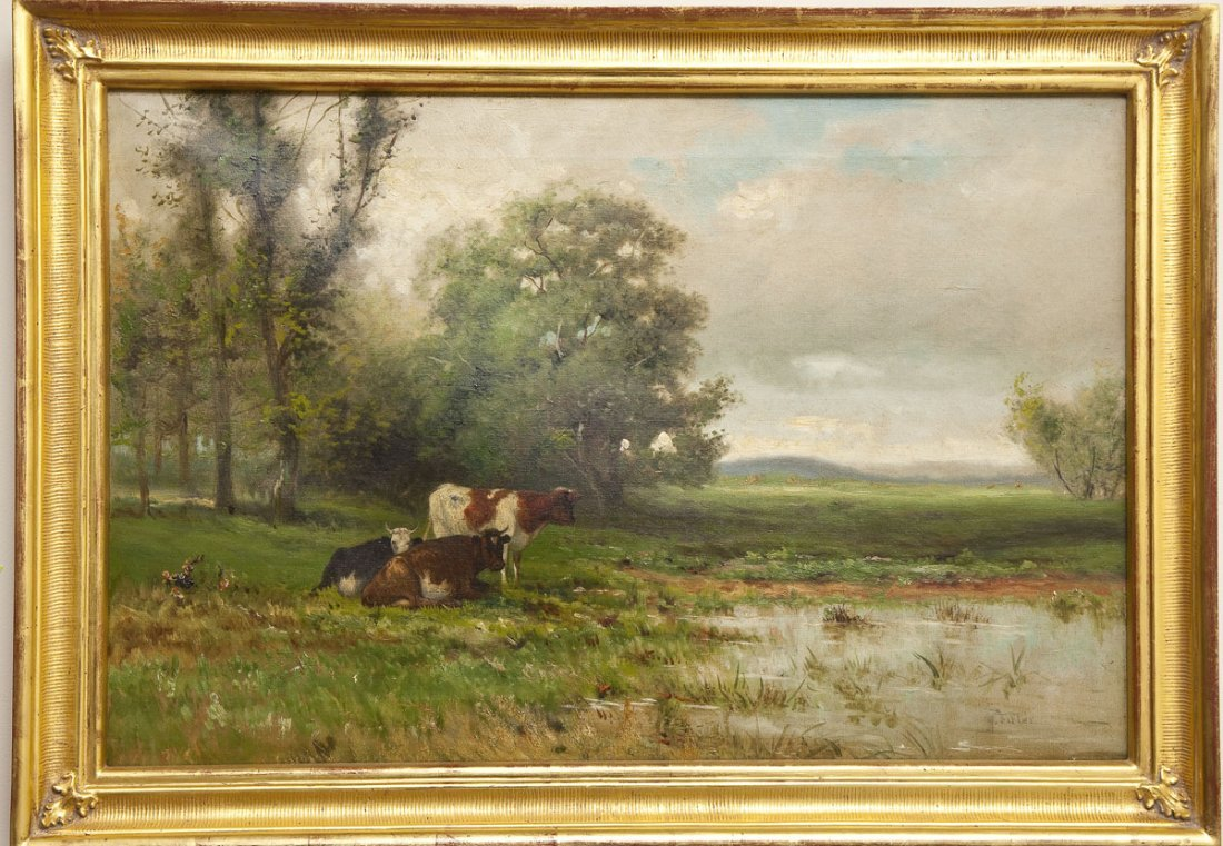 Signed 19th C American School Landscape with Cows
