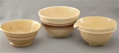 3 Yellow Ware Bowls