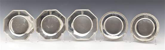 5 Sterling Silver Bread Plates