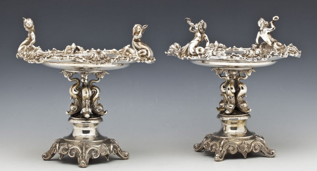 Pair of Baroque 750 Silver Footed Compotes