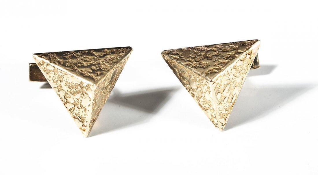 Pair 14K Gold Triangular Cufflinks