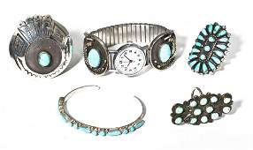 5 Pcs Navajo Silver  Turquoise Jewelry