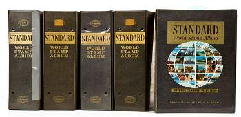 5 Standard World Stamp Albums with Stamps