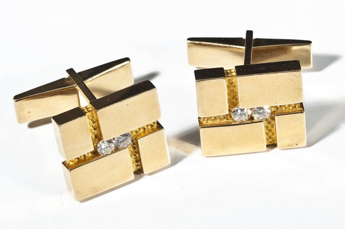 Pair 14K & Diamond Cufflinks