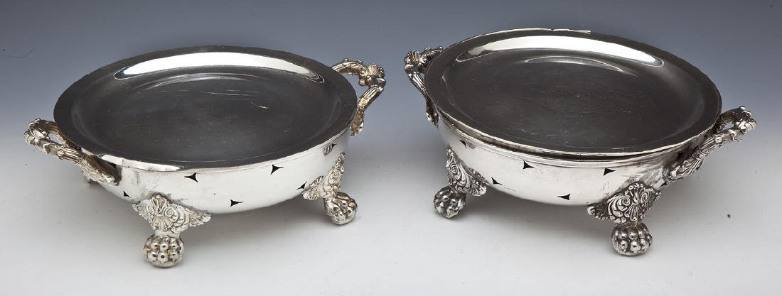 Pair of N. Durand Silver on Copper Plate Warmers