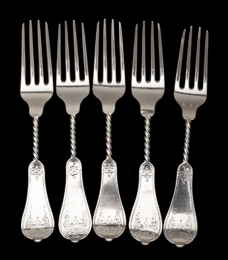 5 Duhme Coin Silver Luncheon Forks