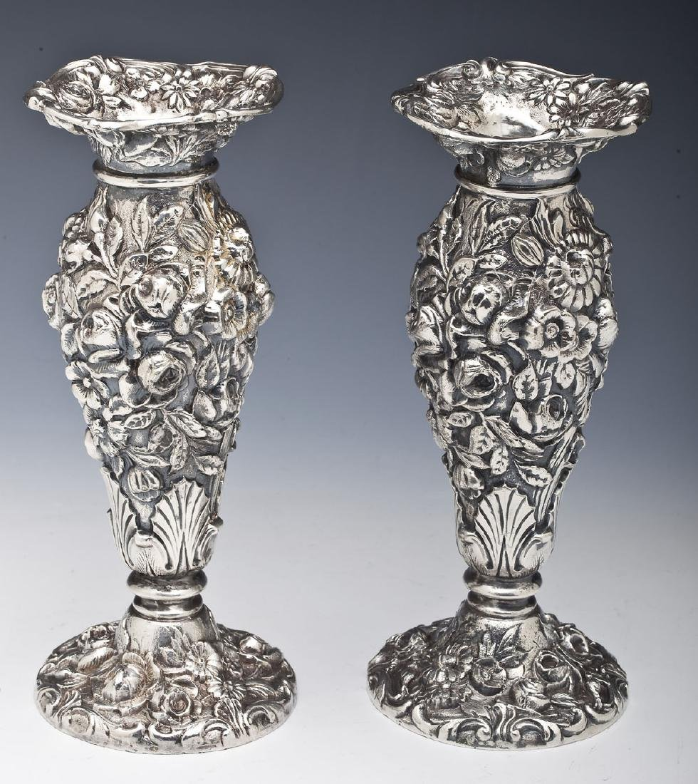 Pair of Weidlich Bros. Silver Plate Repousse Vases
