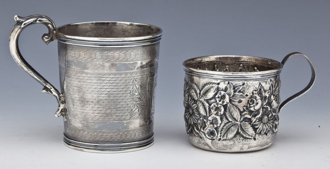 2 Silver Baby Mugs Incl. S. Kirk & Fessenden